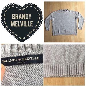 Brandy Melville Gray Heather Crewneck Sweater Top